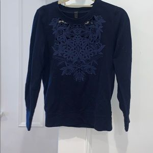 New jcrew navy sweater with lace